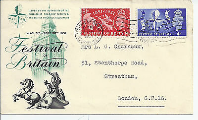 1951 Illusrated Festival FDC clean