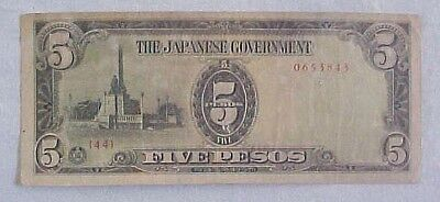 Ww Ii Philippines Japanese Government Invasion 5 Peso Note W/ Safe Keeping Stamp