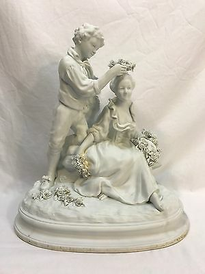 Antique Bisque Bisquit France French Son Honoring Mother Statue Sculpture