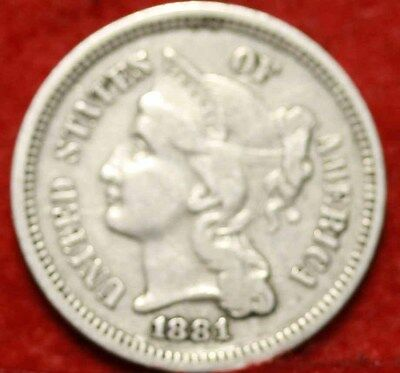 1881 Philadelphia Mint Nickel Three Cent Coin Free Shipping