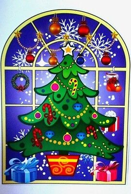 SALE! Stained Glass Window Cling Sticker Snowman Santa Christmas Decoration Xmas