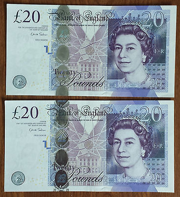 Fantastic UK Britain England UNC Uncirculated  2  20 Pounds  Cons. No.Banknotes