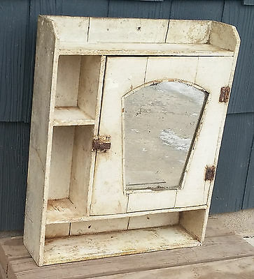 Antique Primitive Vtg Shabby White Farmhouse Medicine Cabinet w/Mirror & Shelves