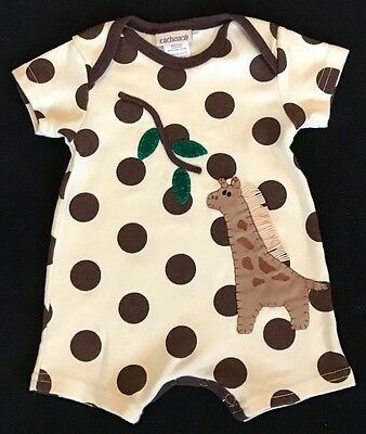 Cach Cach Boys Size 3 Months Cream & Brown Print One Piece Outfit