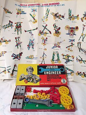 Vintage Lincoln International Junior Engineer Construction Toy Building Set #1