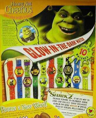 Shrek 2 KID Watch cereal movie figure dragon toy General Mill glow in dark box