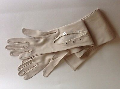 """Vintage Fontaine Fownes Stone Kid Skin 27"""" Mousquetaire Opera Gloves Size 6.5"""
