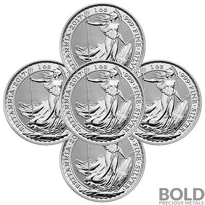 2017 Silver Great Britain Britannia BU .999 - 1 oz (5 Coin)