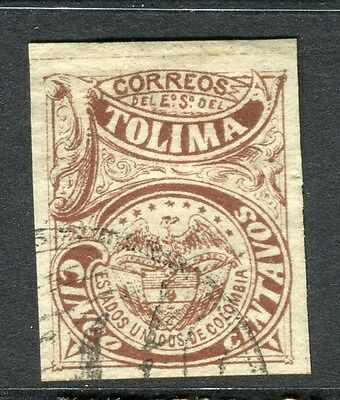 COLOMBIA;  TOLIMA  1884 early classic Imperf issue fine used 5c. value