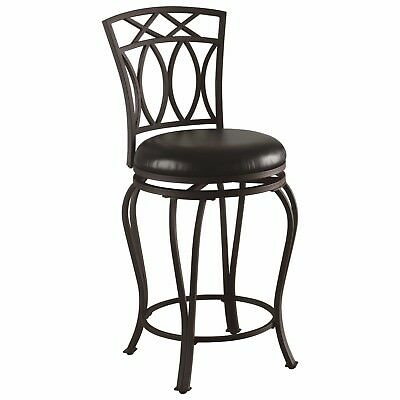 """Black Metal Counter Height Swivel Bar Stool Chair 24""""H by Coaster 122059"""