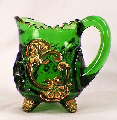 Croesus Individual Creamer Green Gold Early American Pattern Glass Riverside 484