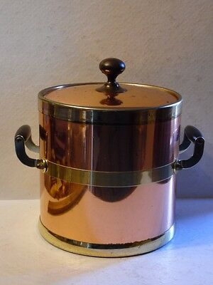 Vintage Kraftware Copper & Gold Ice Bucket With Lid Wood Handles