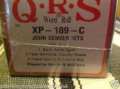 JOHN DENVER  NO. ONE  3  Selections  BRAND NEW L/ PLAY PIANOLA PLAYER PIANO ROLL