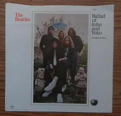 """The Beatles""""The Ballad of John & Yoko"""" west coast 7"""" picture sleeve only ex cond"""