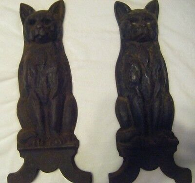 Vintage Set Cast Iron Cat Fireplace Andirons  Antique Fire Dogs Fronts only