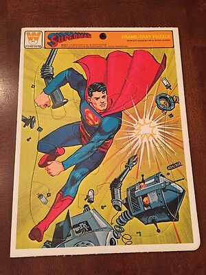 1966 Whitman Superman And Robot Frame-Tray Puzzle, NMMT, Clean!