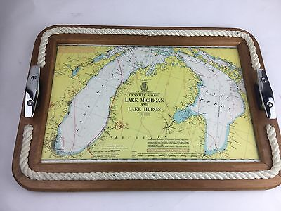 Wooden Nautical Rope Tray w/ Ship & Dock Cleat Handles Lake Michigan & Huron map