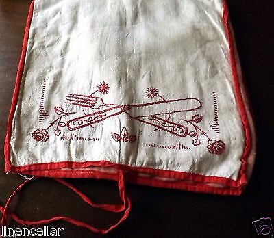 Vintage Silver Cover Knives Forks Embroidered Flannel Handmade Protector Wrap