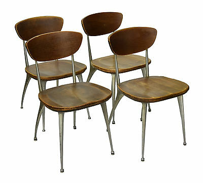Vintage Set of 4 Schoolhouse Mid Century Modern Shelby Williams Gazelle Chairs