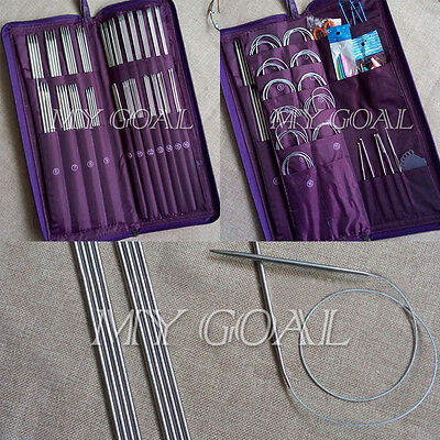 104pcs Stainless Steel Circular Straight Crochet Hook Weave Knitting Needles Set