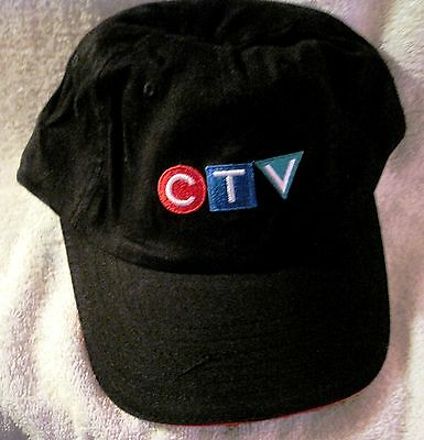 Rare - Ctv - Canadian Tv - Black Baseball Hat With Ctv Color Logo - Great Gift!!