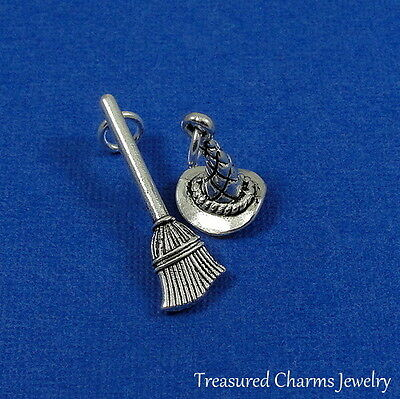 Wicked Witch 3D broom broomstick sterling silver .925 charm Halloween Jewelry