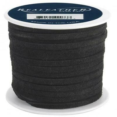 Realeather Crafts Suede Lace, 0.125-Inch Wide and 25-Yard Spool, Black