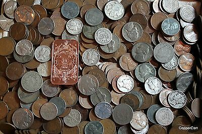 100+ US Coins Cents Silver Nickels Dimes Indian Wheats FREE LED Loop Bullion Bar