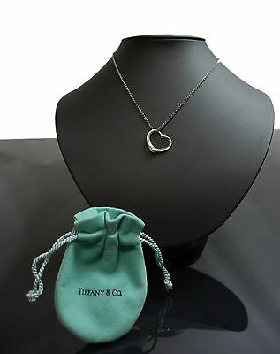 Authentic Tiffany & Co. Necklace Open Heart Sterling Silver #1736