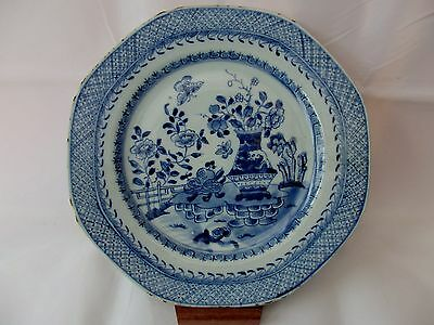 FINE ANTIQUE CHINESE EXPORT BLUE & WHITE PORCELAIN PLATE PAINTED VASE 18th CENT