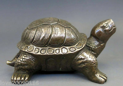 Old Decorated Copper Handwork Carved Animal tortoise sea Turtle Statue sculpture