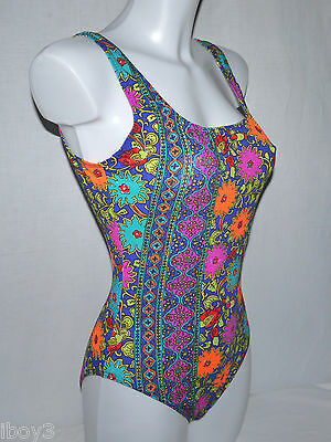 SUPERB 70's 80's VINTAGE FASHION STYLE LADIES SWIMMING COSTUME SWIMSUIT UK12 NEW