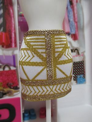 NEW Barbie® Fashionistas® clothing add ons white skirt with gold sparkles