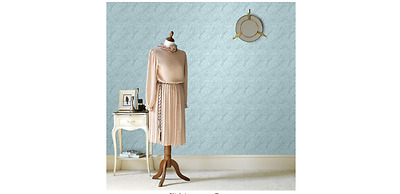 Martha Stewart Living 56 sq ft 1 Double Roll Damask Paintable Wallpaper Washable