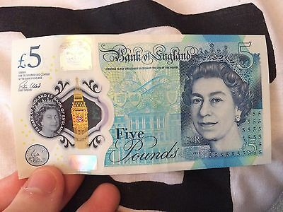 Bank Of England New £5 Five 5 Pound Note - Low Prefix / Serial Number AA01