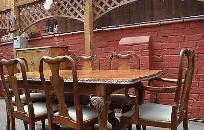 Antique Queen Anne style Burr Walnut Extendable Dining Table & 6 chairs