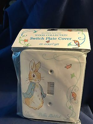 New Beatrix Potter Wooden Light Switch Plate Peter Rabbit w/ mounting screws-NEW