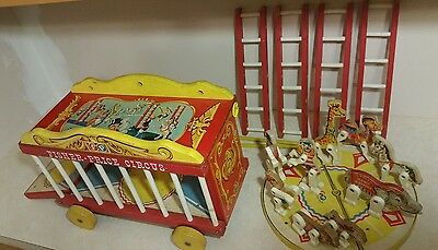 Vintage wood Fisher Price Circus 1960's wooden toy set