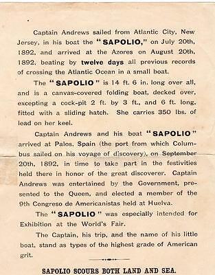 "1890's SAPOLIO*7"" X 9"" FLIER*AD*ATLANTIC CITY NJ TO THE AZORES IN RECORD TIME"
