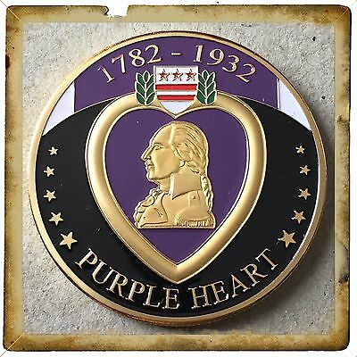 Purple Heart Coin Medal Challenge Coin-Reverse Engravable Brand New