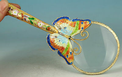 Noble Cloisonne Collection Handmade Carved butterfly Statue magnifying glass