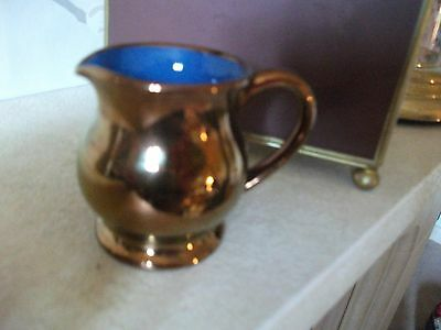Vintage Welsh Studio Pottery Copper Lustre Miniature Jug Signed Creigiau Pottery