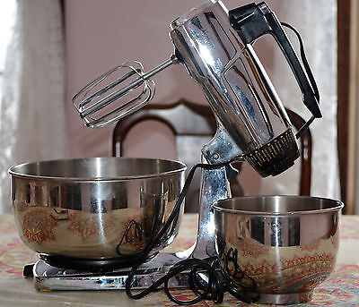 Vintage Sunbeam Chrome Mixmaster 12-Speed Stand Mixer 2 Bowls TESTED & WORKING!