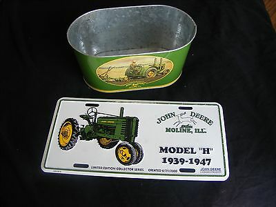 Lot - 2 John Deere Items - Vintage Model H Tractor License Plate & Small Bucket