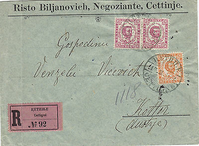 MONTENEGRO (r540) 1902  reg. let. stamped to from CETTINJE to KOTTOR AUSTRIA