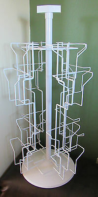 """White Metal 16 Slot Greeting Card Spinning Table Top Display Rack 25"""" Tall"""