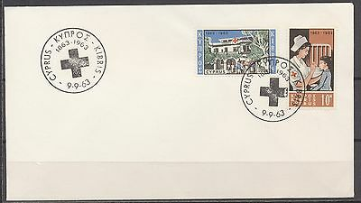 Red Cross - Cyprus 9.9.1963 Fdc Red Cross 1863-1963                       T412