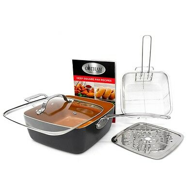 Gotham Steel Deep Square Nonstick Pan with & Steamer Tray Lid Frying Basket NEW