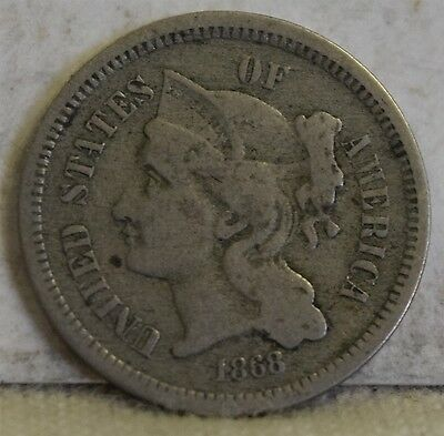 1868 Nickel Three-Cent Piece *Free S/H After 1st Item*