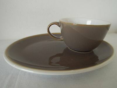 Denby Oval Sandwich Plate and Cup Combo Musroom in Colour